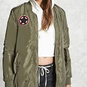 Forever 21 Patched Longline Bomber